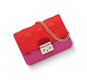 Dior Red/Papaya/Tea Rose Miss Dior Mini Promenade Pouch Bag - Spring 2015