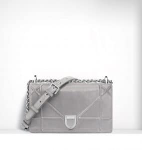 Dior Silver Iridescent Nubuck Diorama Small Flap Bag - Spring 2015