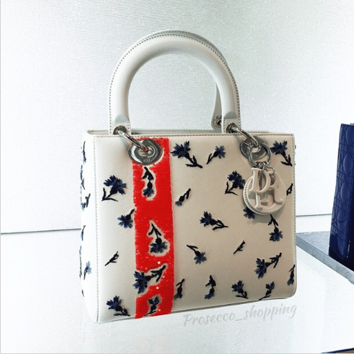 Dior White Floral Embroidered Lady Dior Bag