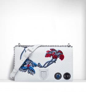 Dior White Quilted and Embroidered Diorama Flap Bag - Spring 2015