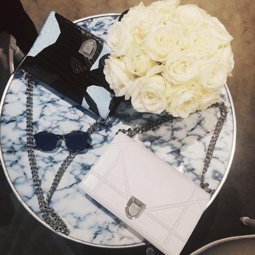 Dior White and Black/Light Blue Crocodile Diorama Flap Bags