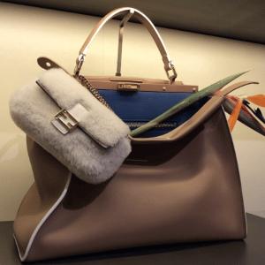 Fendi Beige Peekaboo with White Fur Micro Baguette Bag - Fall 2015