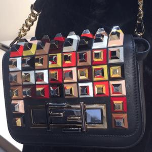Fendi Black Embellished 3Baguette Bag - Fall 2015