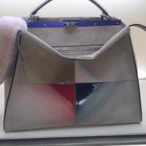 Fendi Grey Graphic Color Block Peekaboo Bag - Fall 2015