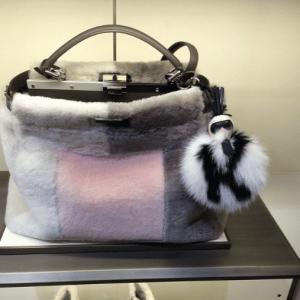Fendi Multicolor Fur Peekaboo Bag with Karlito Charm - Fall 2015