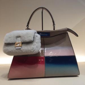 Fendi Multicolor Geometric Peekaboo Bag with White Fur Micro Baguette Bag - Fall 2015