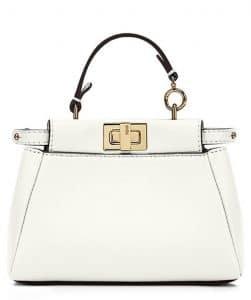 Fendi White Micro Peekaboo Bag