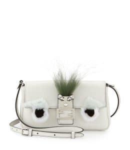 Fendi White Monster Micro Baguette Bag