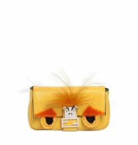 Fendi Yellow Monster Micro Baguette Bag