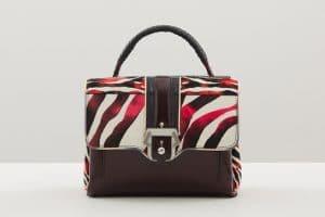 Paula Cademartori Black/White/Red/Brown Zebra Print Faye Bag - Fall 2015