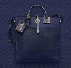 Valentino Dark Blue Eye On You Viva Valentino Vertical Tote Bag