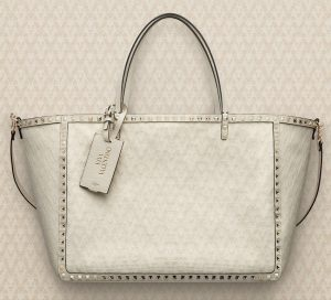 Valentino Ivory Viva Valentino Rockstud Double Medium Tote Bag