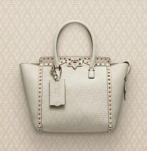Valentino Ivory Viva Valentino Rockstud Top Handle Bag