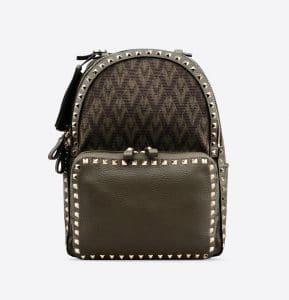 Valentino Military Green Viva Valentino Rockstud Medium Backpack Bag