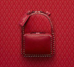 Valentino Red Viva Valentino Rockstud Medium Backpack Bag