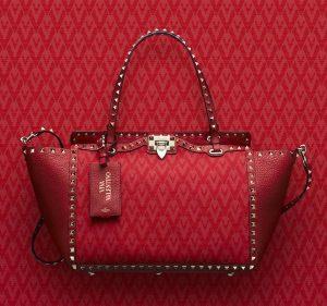 Valentino Red Viva Valentino Rockstud Medium Tote Bag