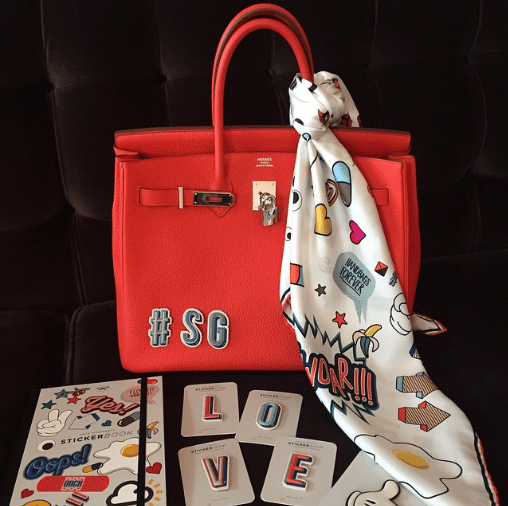 Anya Hindmarch Stickers on Hermes Birkin Bag