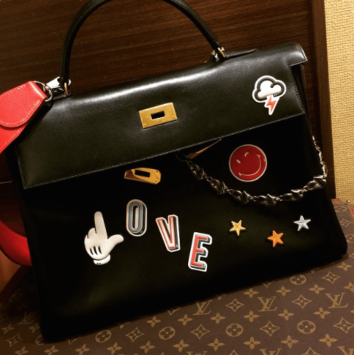 Anya Hindmarch Stickers on Hermes Kelly Bag 2