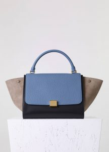 Celine Beige/Black/Blue Bullhide:Calfskin Trapeze Medium Bag