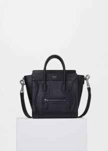 Celine Black Drummed Calfskin Nano Luggage Bag