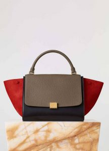 Celine Bullhide Red Tricolor Trapeze Bag - Fall 2015
