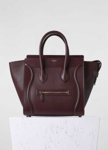 Celine Burgundy Calfskin Micro Luggage Bag