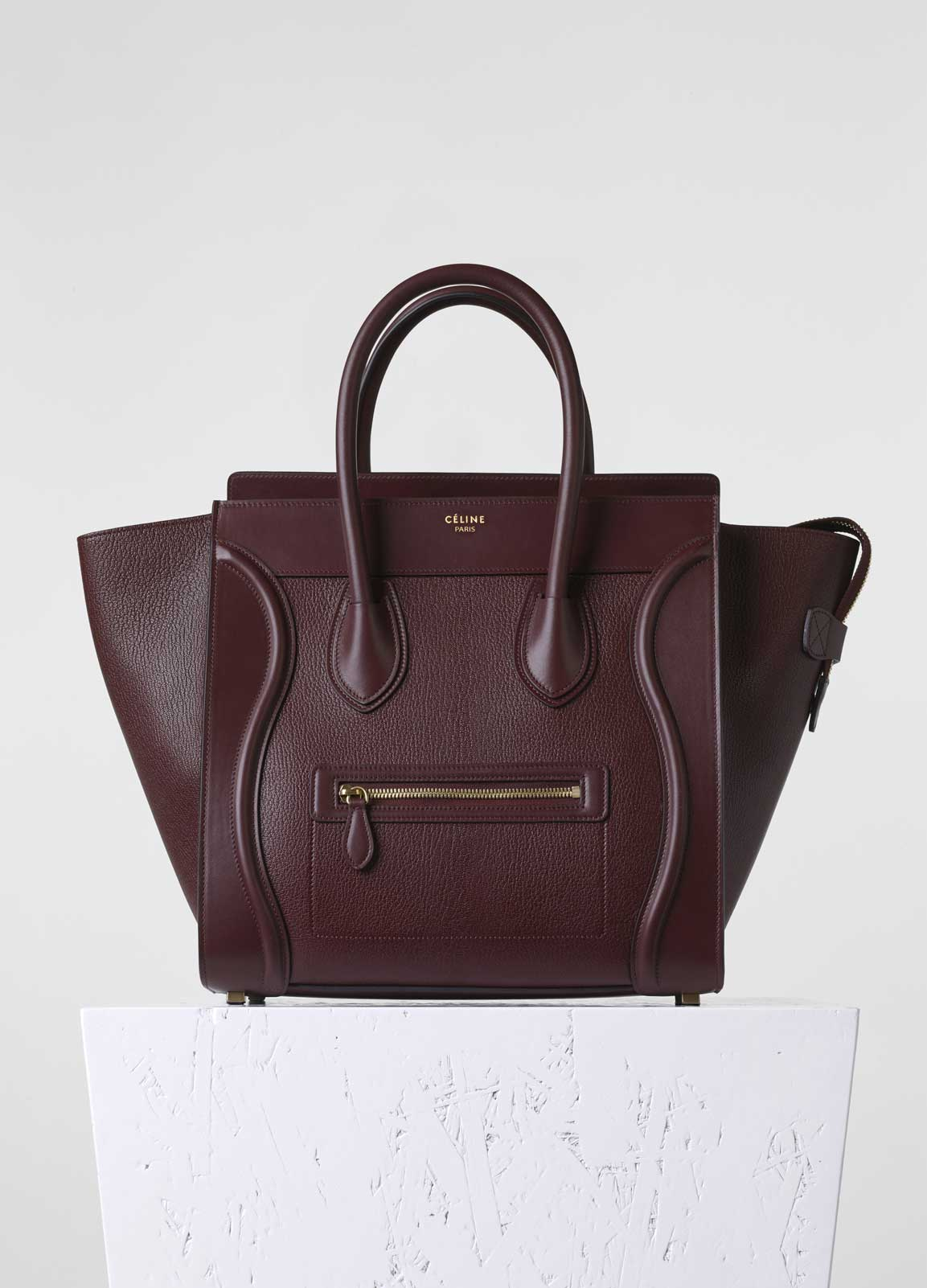 celine burgundy exotic leathers handbag edge