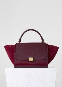 Celine Burgundy Goatskin:Suede Trapeze Medium Bag