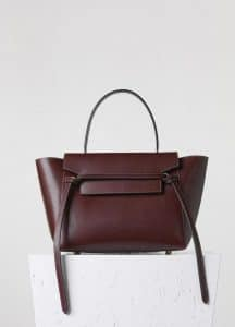 Celine Burgundy Small Belt Tote Bag