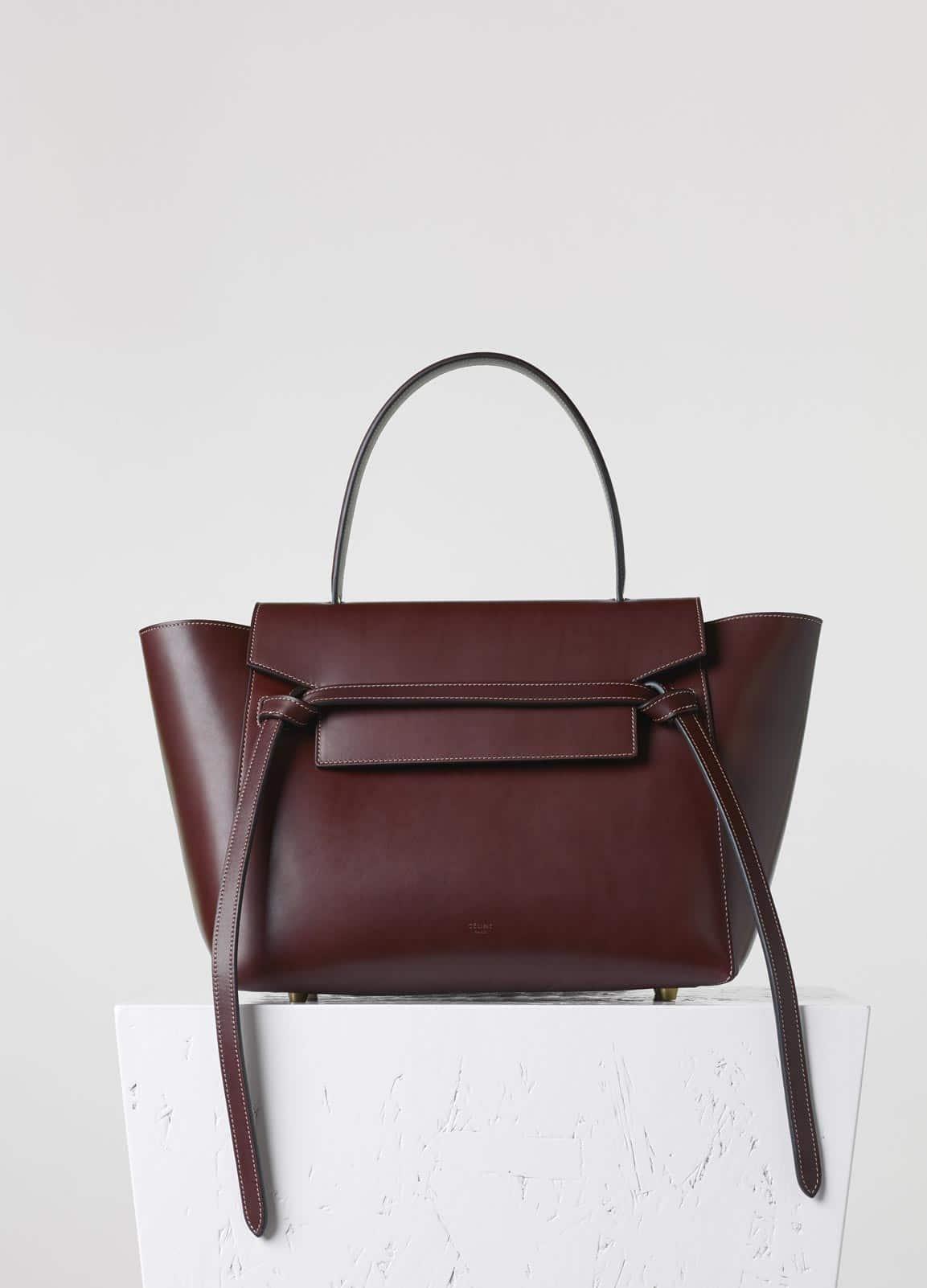 Celine Burgundy Small Belt Tote Bag
