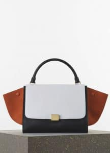 Celine Burnt Orange/White/Black Smooth Calfskin Trapeze Medium Bag