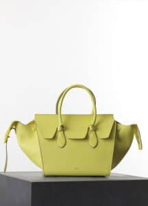 Celine Fluo Yellow Crisped Calfskin Mini Tie Tote Bag