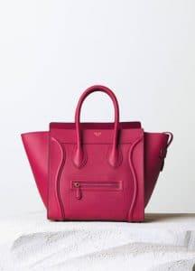 Celine Fuchsia Drummed Calfskin Mini Luggage Bag