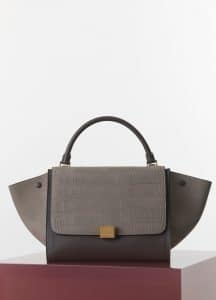 Celine Grey Stamped Crocodile Nubuck Trapeze Medium Bag