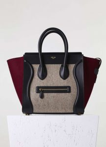 Celine Grey/Black/Burgundy Felt Micro Luggage Bag