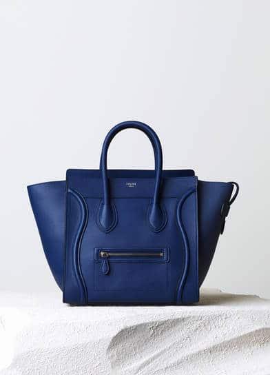 mini luggage drummed leather celine bag