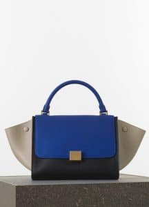 Celine Indigo/Beige/Black Elephant Calfskin Trapeze Medium Bag