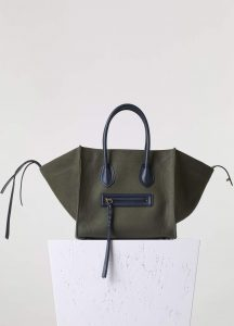 Celine Khaki Textile Phantom Medium Bag