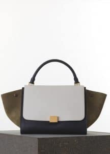 Celine Khaki/White/Black Smooth Calfskin Trapeze Medium Bag