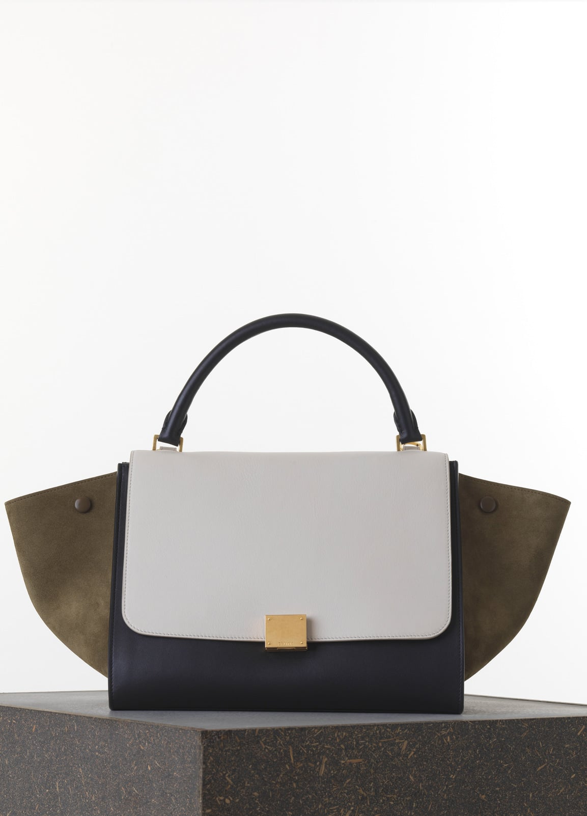 Celine Khaki White Black Smooth Calfskin Trapeze Medium Bag b35a4c4bcd1ac