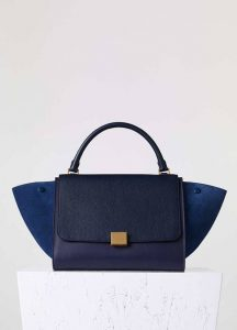 Celine Medium Trapeze Blue Suede Goatskin Bag - Fall 2015