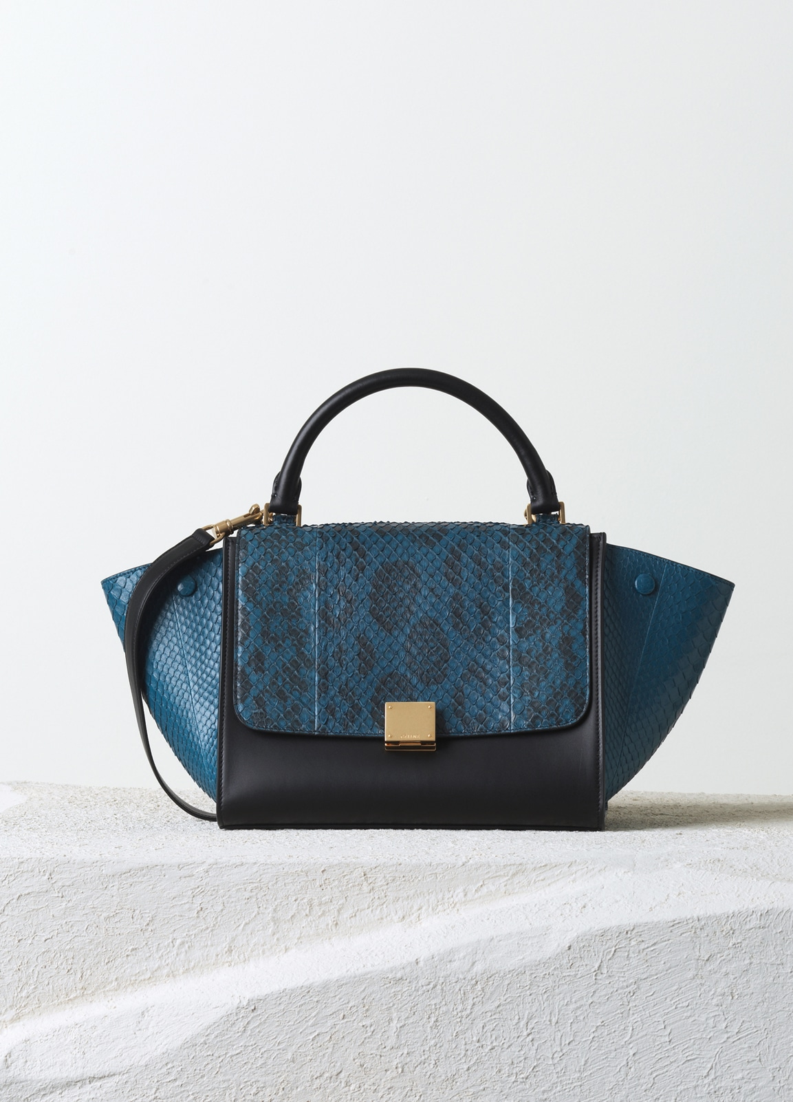 71a53564a1 Celine Metallic Blue Anaconda Python Trapeze Small Bag