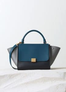 Celine Metallic Blue/Grey/Black Smooth Calfskin Trapeze Small Bag