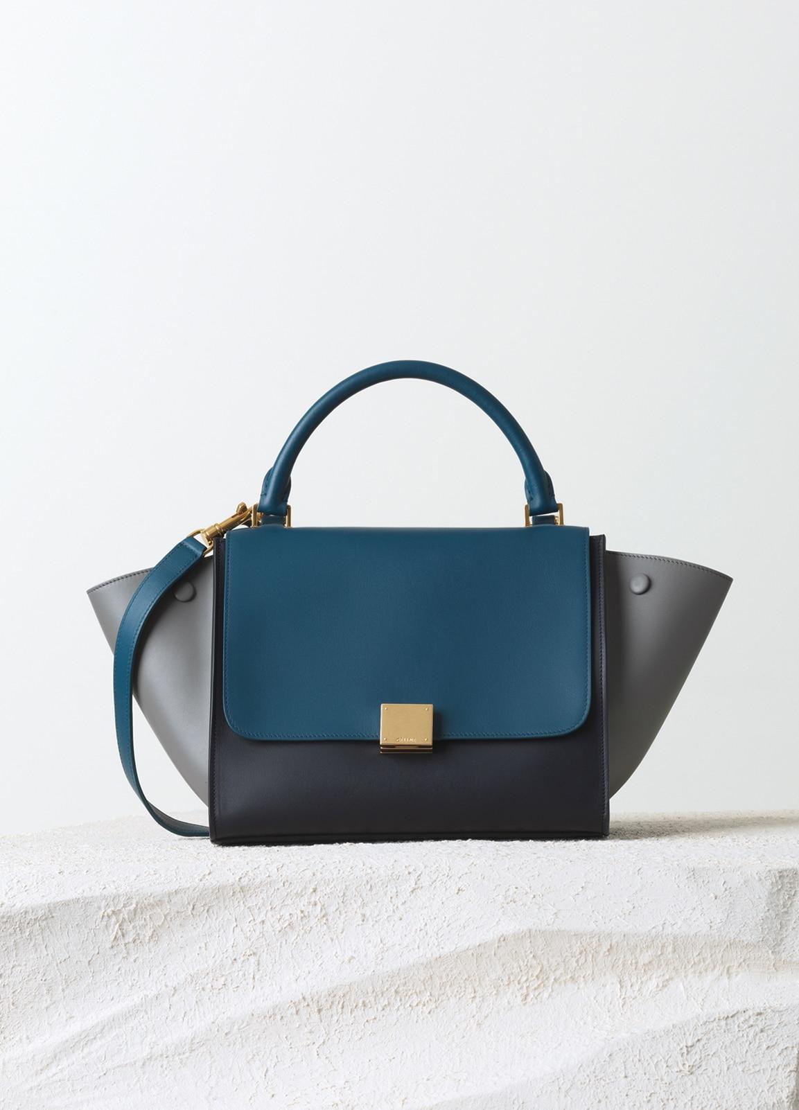 Celine Metallic Blue Grey Black Smooth Calfskin Trapeze Small Bag a3e7f79e58d17