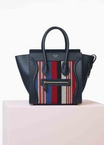 Celine Navy Blue Calfskin and Cotton Woven Micro Luggage Bag