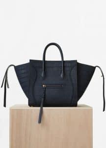 Celine Navy Blue Nubuck Stamped Crocodile Medium Luggage Phantom Bag