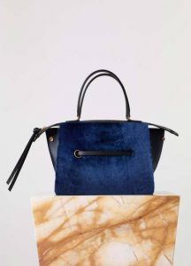 Celine Navy Lambskin Fur Small Ring Bag