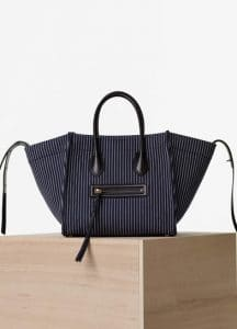 Celine Navy and White Textile Medium Luggage Phantom Bag