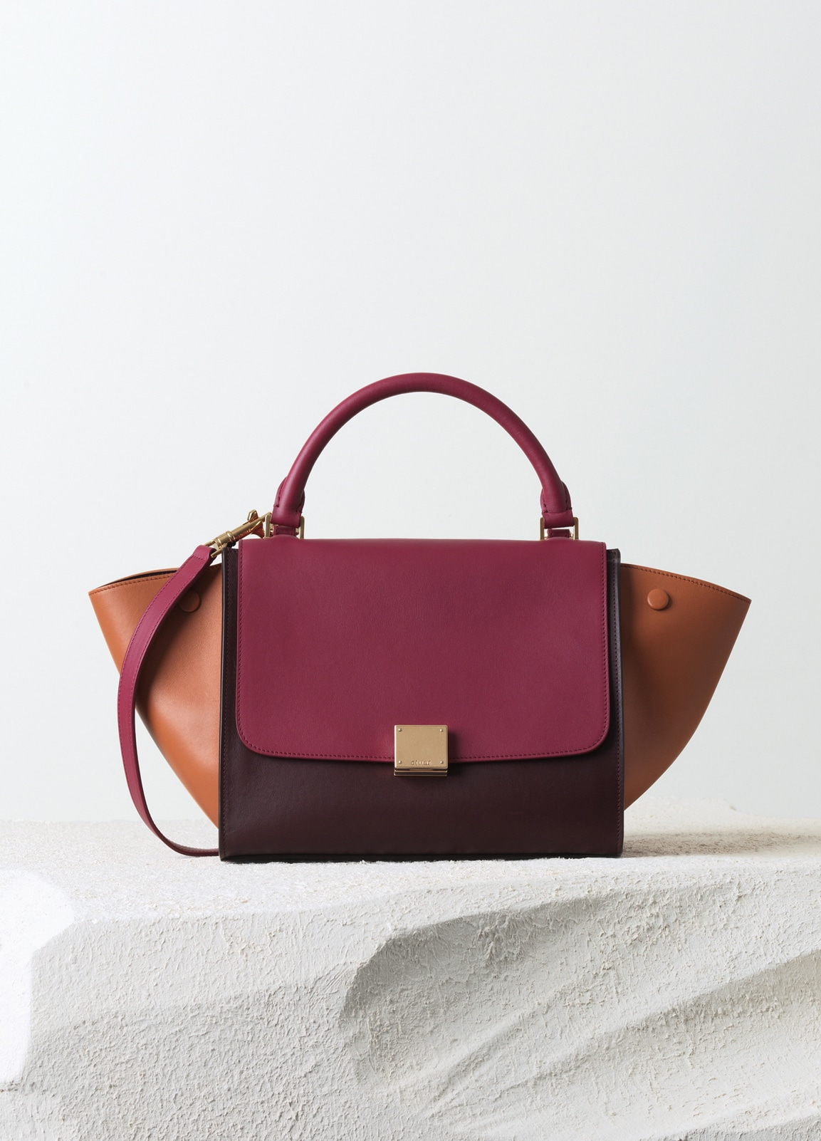 74963025c9 Celine Orchid Burgundy Tan Smooth Calfskin Trapeze Small Bag