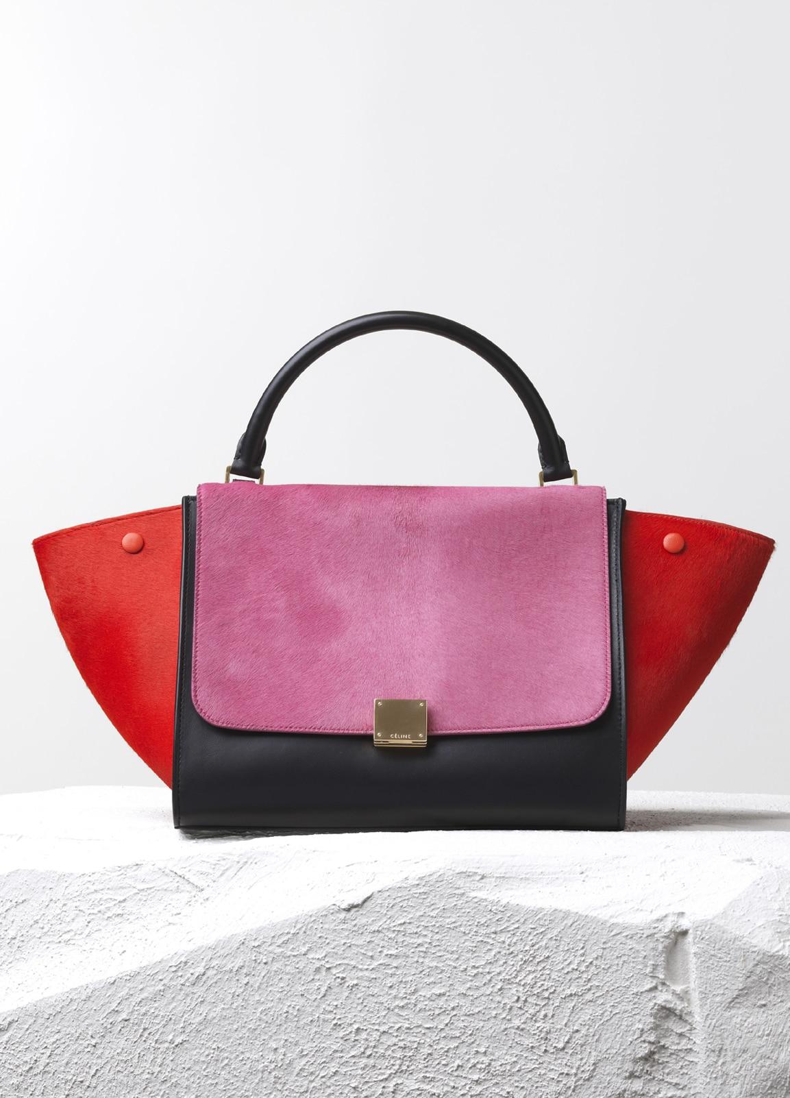 Celine Pink Red Black Pony Calfskin Trapeze Small Bag 6720de63f3e18